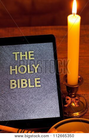The digital holy bible in tablet computer.