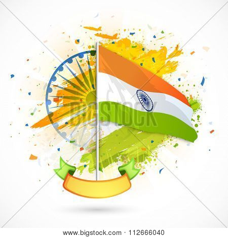 Creative waving Indian National Flag with blank ribbon on Ashoka Wheel decorated background for Happy Republic Day celebration.