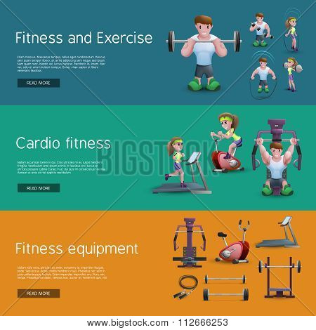 Set Of Three Fitness Banners