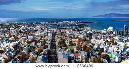 Aerial Panoramic View Of Reykjavik. Iceland.