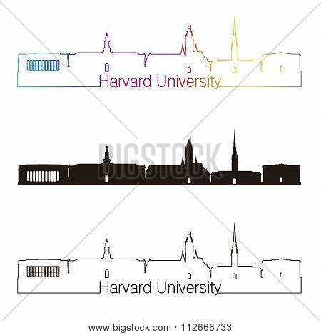 Harvard University Skyline Linear Style With Rainbow
