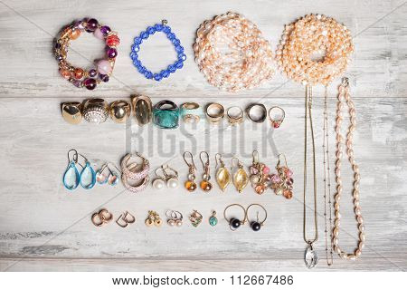 Organized set  of jewelry