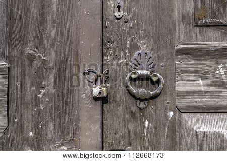 Old door with ring knocker