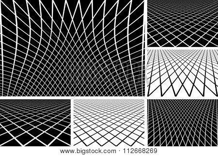 Lines latticed patterns. Abstract geometric backgrounds set. Vector art.