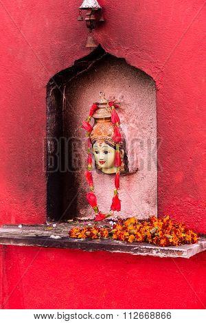 Kali At Durba Temple In Varanasi.