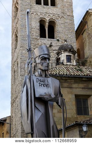 detail of the statue of the cathedral across Oliba bishop of Vic Catalonia Spain.