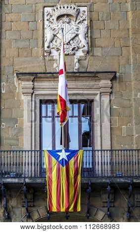 Detail Estelada flag on the town hall balcony Vic Catalonia Spain. Independence symbol.