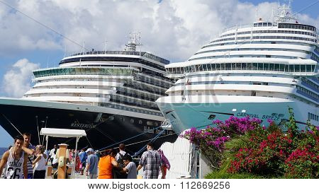 Carnival Breeze and Holland America Westerdam docked in Grand Turk