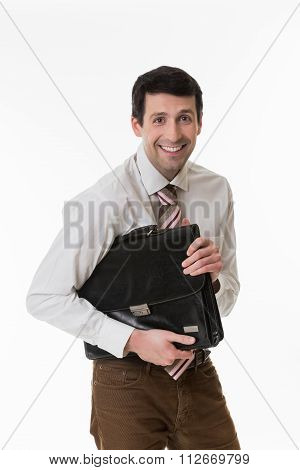 Smiling clerk with a briefcase.