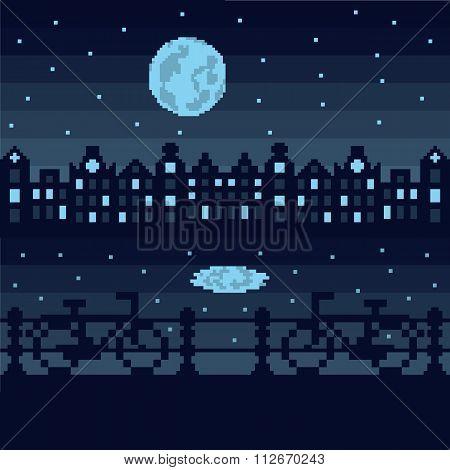 Amsterdam by night, pixel illustration