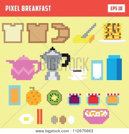 Pixel breakfast, isolated vector icon set
