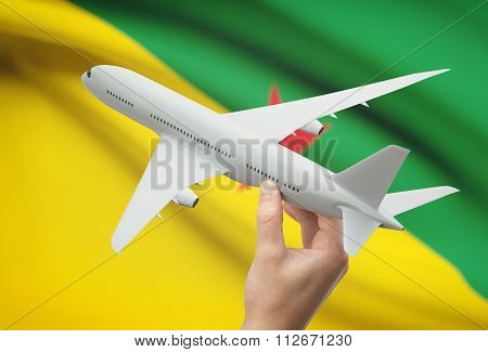 Airplane In Hand With Flag On Background - French Guiana