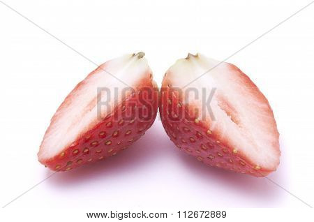 Sliced strawberry without stalk