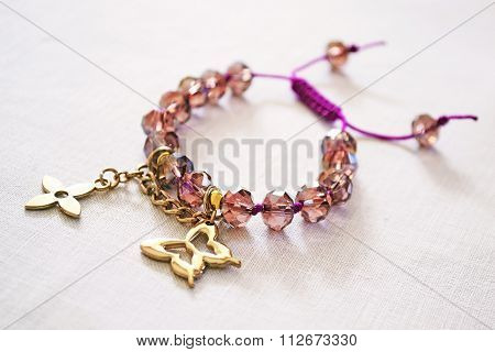 bracelet with purple beads