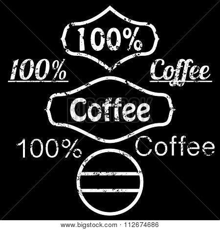 Vector illustration of grunge logo coffee