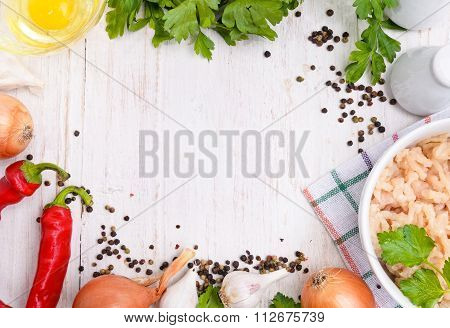 Minced meat. The concept of cooking. Background.