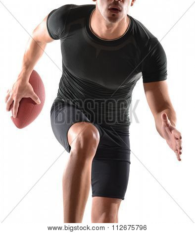 Running rugby player holding a ball on white background.Strong player portrait.