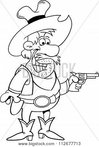 Cartoon cowboy holding a pistol.