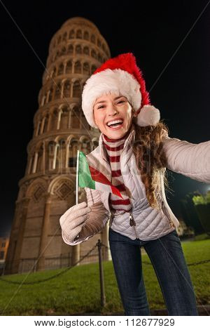 Woman With Italian Flag Taking Selfie Near Leaning Tower Of Pisa