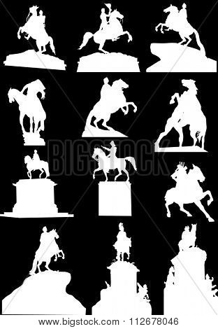 illustration with set of horseman statues isolated on black background