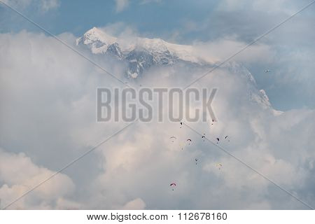 Paragliders In Nepal