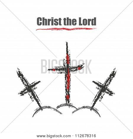Three Crosses One In Blood Of A Christ The Lord