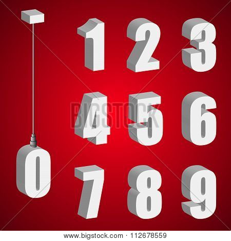 Hanging Light Bulb Digits. 3D Isometric Numbers. Pendant White Bold Numeral.