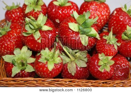 Red Strawberries In A Basket