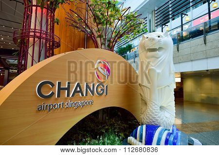 SINGAPORE - NOVEMBER 07, 2015: interior of Changi Airport. Singapore Changi Airport, is the primary civilian airport for Singapore, and one of the largest transportation hubs in Southeast Asia