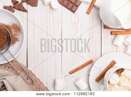Hot cocoa. Background.