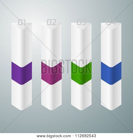 Vector illustration of four vertical triangle