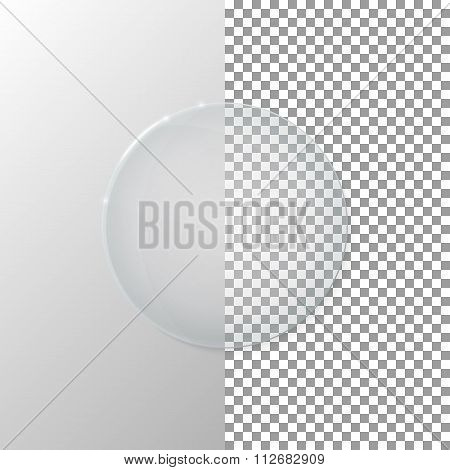 Vector illustration of a transparent glass circle
