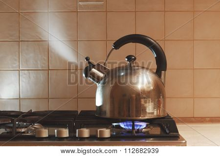 Water Boils In The Kettle