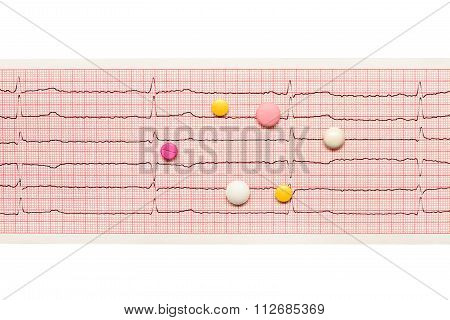 White yellow and pink tablets on paper ECG results