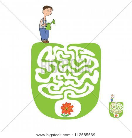 Maze, Labyrinth education Game for Children with Gardener and Plant.