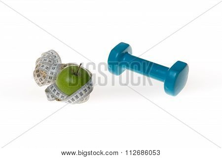 Dumbells, Green Apple And Tape Measure, Isolated On White.