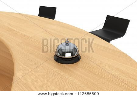Servicing Bell On The Wooden Table