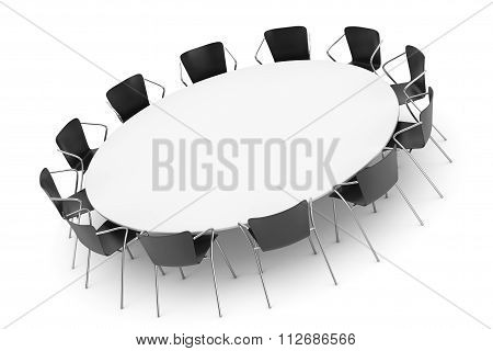 Conference Round Table And Office Chairs