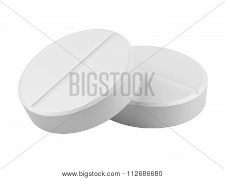 Close Up Two Medical Tablets