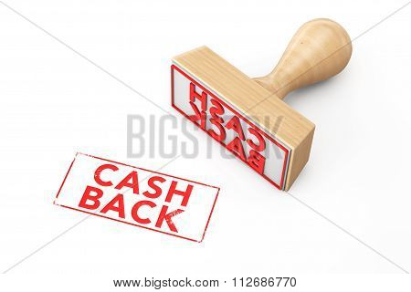 Wooden Rubber Stamp With Cash Back Sign