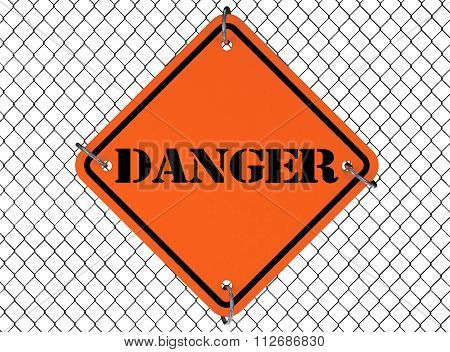 Danger Sign With Wired Fence