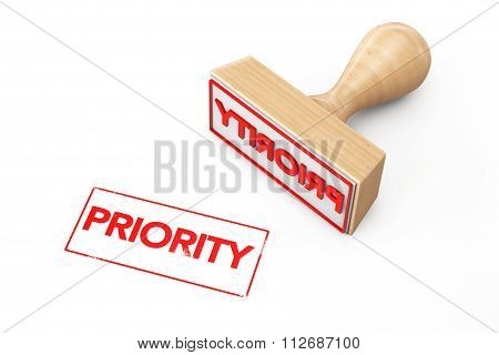 Wooden Rubber Stamp With Priority Sign