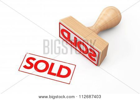 Wooden Rubber Stamp With Sold Sign