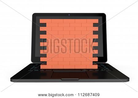 Firewall Concept. Laptop With Brick Wall