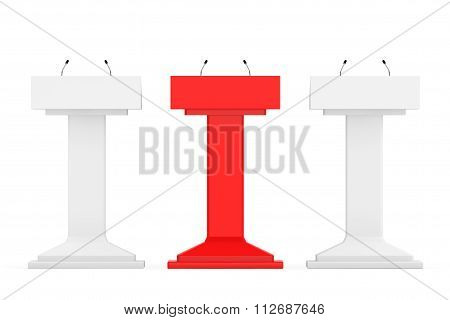 White With Red One Podium Tribune Rostrum Stands With Microphones