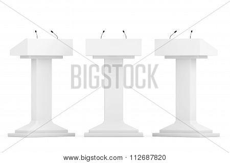 White Podium Tribune Rostrum Stands With Microphones