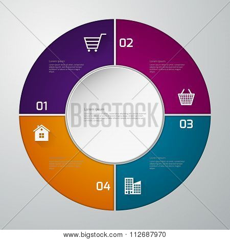 Vector illustration infographics four paper circle