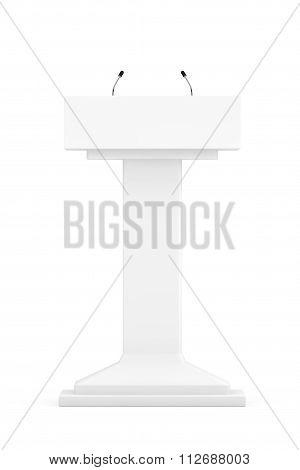 White Podium Tribune Rostrum Stand With Microphones