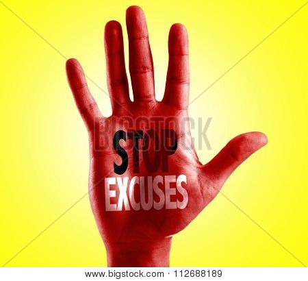 Stop Excuses written on hand with yellow background