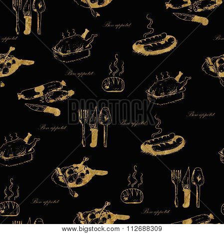 Golden seamless hand-drawn food pattern with the words bon appetit